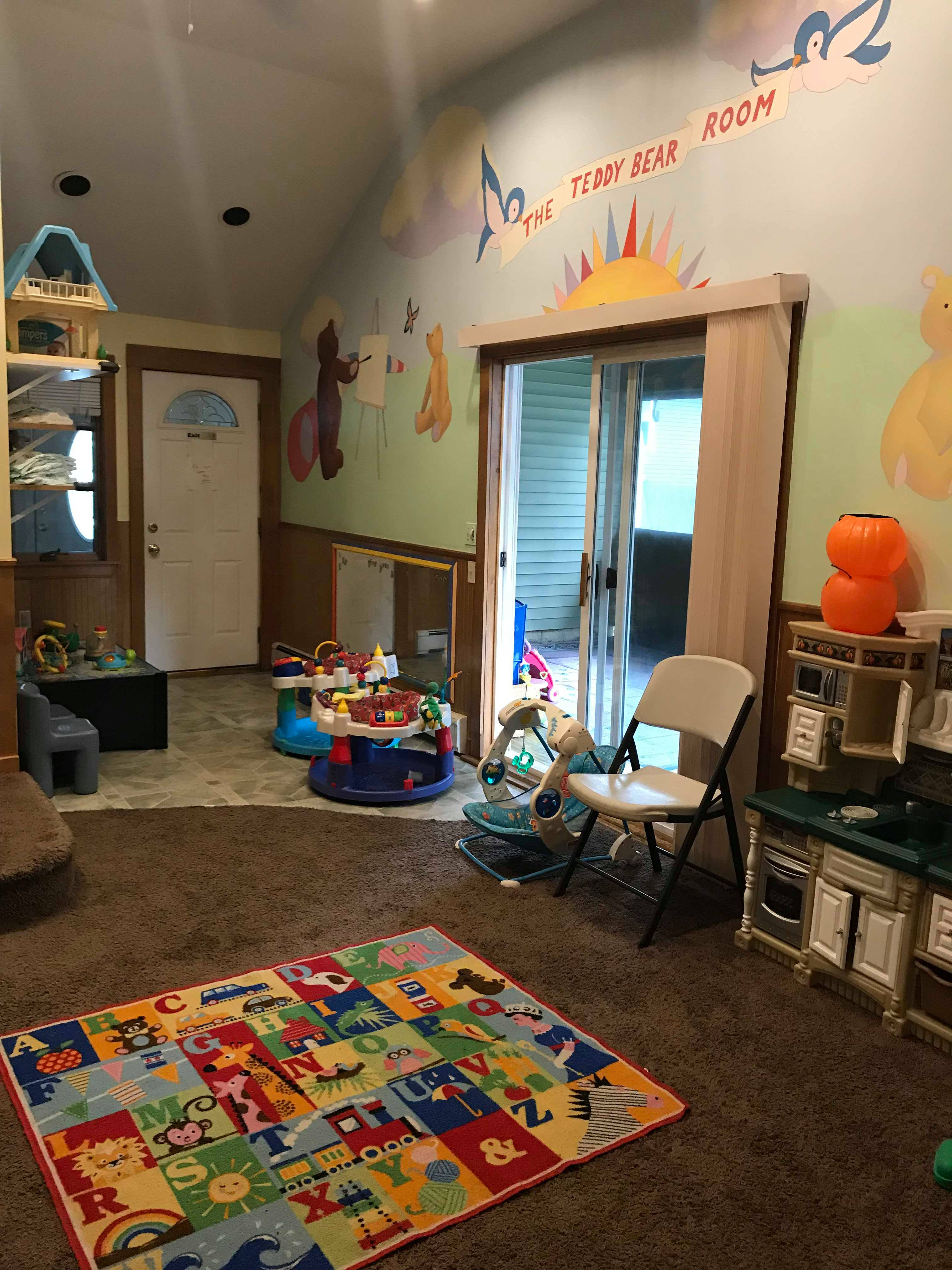 The inside playroom is always in use due to it's array of things to keep their mind occupied.